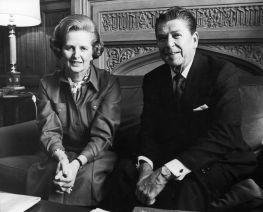 Margaret Thatcher Meets With Ronald Reagan In London In 1978